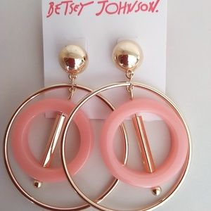 Betsey Johnson New Gold and Peach Hoop Earrings